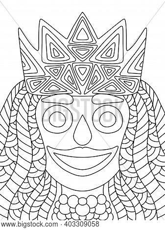 Mardi Gras Festival Queen Venetian Mask Stock Vector Illustration. Funny Carnival Woman Portrait Hor