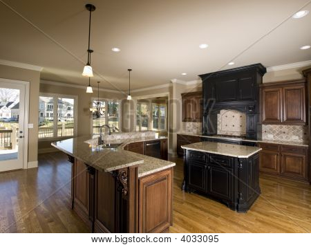 Luxury Center Island Kitchen With View