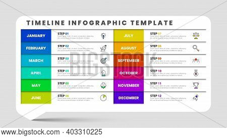 Infographic Design Template. Timeline Concept With 12 Steps. Can Be Used For Workflow Layout, Diagra