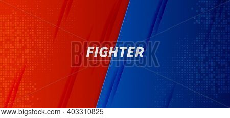 Versus Vs Fight Battle Red And Blue Background Screen Design. Vector Illustration