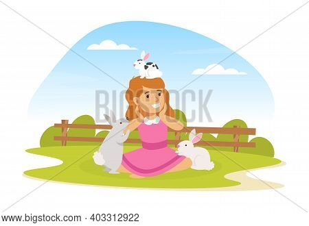 Cute Girl Playing With White Rabbits On Farm Yard, Kid Interacting With Animal In Petting Zoo Cartoo