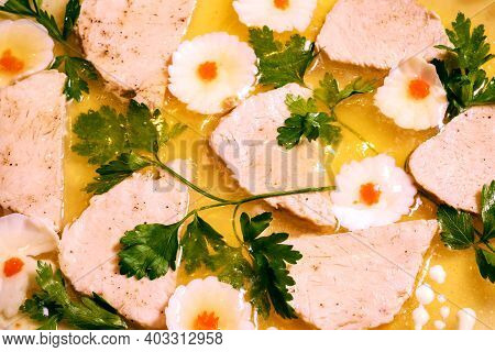 Jelly. Jellied Meat With Parsley And Egg. Traditional Holiday Dish.