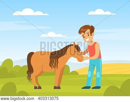 Cute Boy Playing With Pony On Farm Yard, Kid Interacting With Animal In Petting Zoo Cartoon Vector I