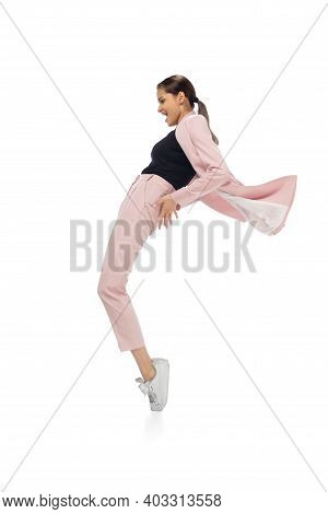 Icon. Happy Young Woman Dancing In Casual Clothes Or Suit, Remaking Legendary Moves And Dances Of Ce