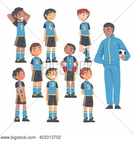 Kid Soccer Players Team With Coach Trainer, Group Of Kids In Sports Uniform And Football Trainer, Sc
