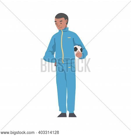 Soccer Coach, Football Trainer In Sports Uniform Standing With Soccer Ball Cartoon Style Vector Illu