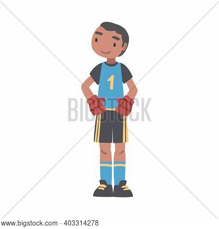 Kid Goalkeeper Soccer Player Character, Little Boy In Black And Blue Sports Uniform Playing Football