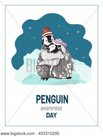 Penguin Awareness Day, Cute Funny Cartoon Emperor Penguin Chicks, Boy, Girl, In Knitted Hats, Smile