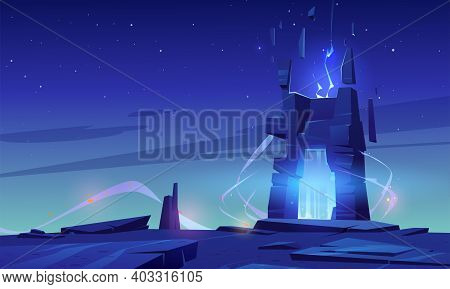 Magic Portal On Mountain Top Or Alien Planet Surface, Futuristic Landscape Background With Glowing E