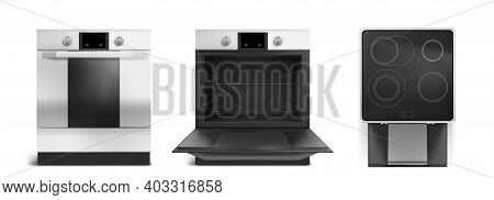 Electric Stove, Induction Cooking Panel With Oven Front And Top View. Vector Realistic Set Of Kitche