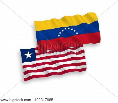 National Fabric Wave Flags Of Venezuela And Liberia Isolated On White Background. 1 To 2 Proportion.