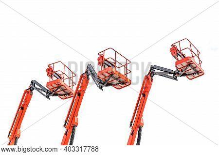 Orange Basket, Of Forklifts Or Crane For Industrial Construction