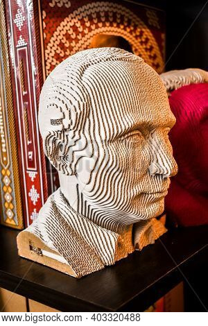 Bust Of Russian President Putin, In Souvenir Shop For Foreign Tourists. Promotion Of The Personality