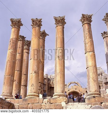 Jerash,jordan-july 14, 2001:the Ruins Of The Temple Of Artemis Situated Behind Walls Of Greco-roman