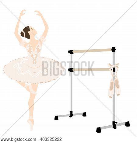 Ballerina, Barre, Tutu Dress, Pointe Shoes, Studio Equipment Ballet Room, Vector Illustration, Wood