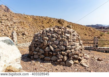 Round Stony Shelter On The Hill In Hajar Mountains, Hatta, United Arab Emirates.