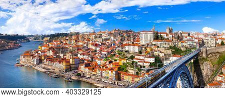panorama of beautiful Porto - view with famous bridge of Luis, Portugal, dec 2016