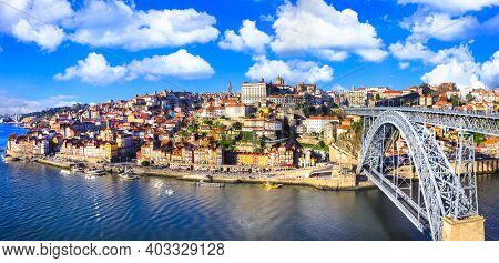 beautiful Porto town - view with famous bridge of Luis, Portugal. dec 2016