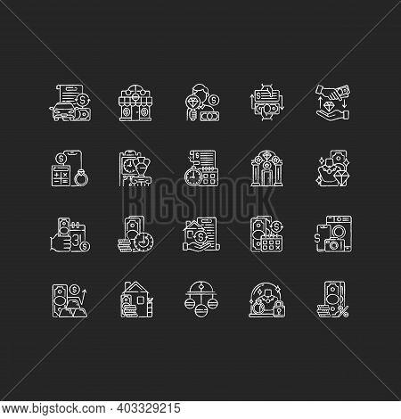 Pawn Shop Chalk White Icons Set On Black Background. Vehicle Title Loan. Paid Check Cashing. High-qu