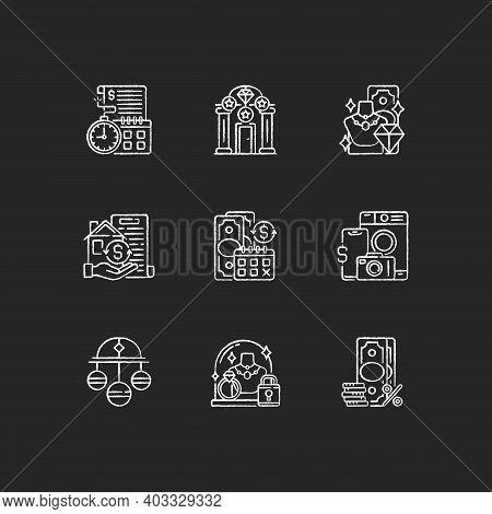 Pawnbrokery Chalk White Icons Set On Black Background. Time Limit. Upscale Pawnshops. Product Valuab