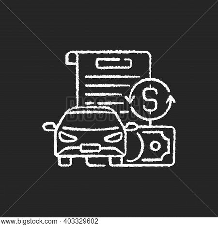 Vehicle Title Loan Chalk White Icon On Black Background. Placing Lien On Car Title. Borrowers Outsta