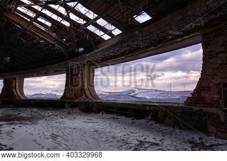 Winter Landscape From Buzludzha - Abandoned Bulgarian Communist Party's Building. Bulgaria.