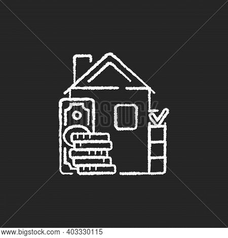 Down Payment Chalk White Icon On Black Background. Expensive Good And Service Purchase. Initial Upfr