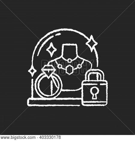 Pledge Safety Chalk White Icon On Black Background. Security Measures. Pawn Shop Responsibility. Kee