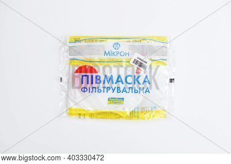 Bila Tserkva, Ukraine - December 27: The Mikron Disposable Particulate Valved Respirator Ffp3. Prote