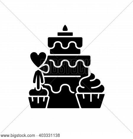 Candy Bars Black Glyph Icon. Buffet With Cupcakes And Muffins. Cake, Desserts For Wedding Celebratio