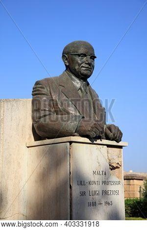 Valletta, Malta - August 14, 2019: Statue Of Sir Luigi Preziosi In Valletta. Malta