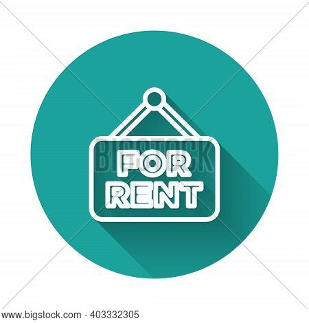 White Line Hanging Sign With Text For Rent Icon Isolated With Long Shadow Background. Signboard With