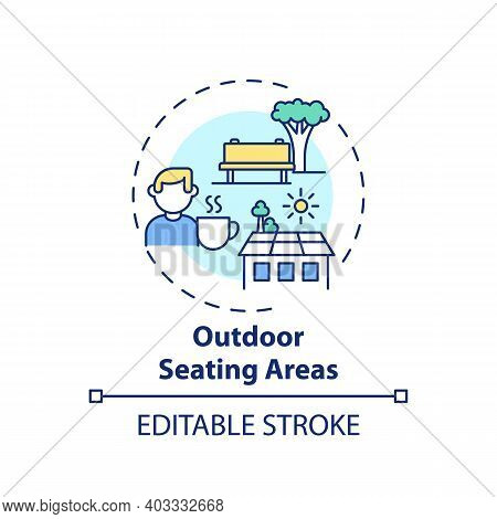 Outdoor Seating Areas Concept Icon. Workplace Wellness Practice Idea Thin Line Illustration. Taking