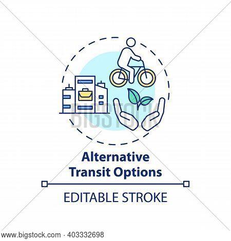 Alternative Transit Options Concept Icon. Workplace Wellness Idea Thin Line Illustration. Walking An