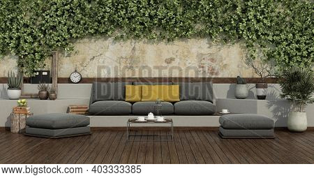 Garden With Ivy On Old Wall And Gray Sofa,yellow Cushion,footstool On Wooden Flooring - 3d Rendering
