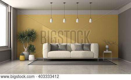 Gray And Yellow Living Room With Modern Sofa,coffee Table And Houseplants - 3d Rendering
