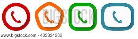Set Of Flat Design Vector Phone Icons, Telephone Symbol Illustration In Eps 10