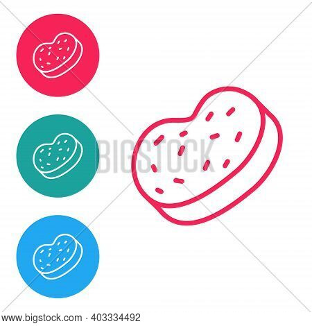 Red Line Bath Sponge Icon Isolated On White Background. Sauna Sponge. Set Icons In Circle Buttons. V