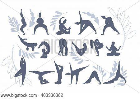 Set Of Yoga Silhouettes Isolated On White Background. Set Of Yoga Exercise. Workout Fitness,