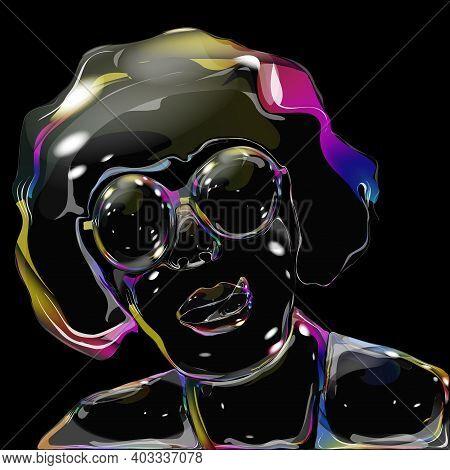 Woman Soap Bubble Shimmers Light Rainbow Handle