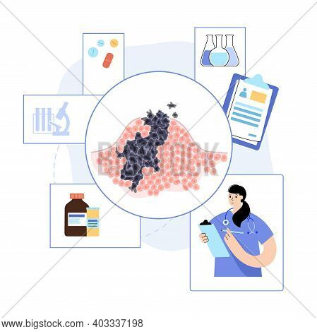 Vector Isolated Illustration Of Malignant Tumor In Healthy Tissue. Doctor In Laboratory. Spreading O