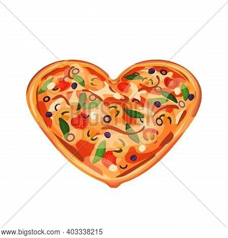 Isolated Hot Pizza With Olives, Tomatoes, Mozzarella, Mushrooms And Cheese. Dish Has Heart Form For