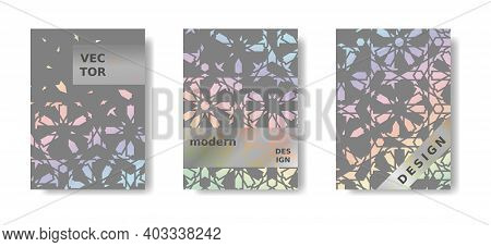 Modern Holographic Geometric Poster Set. Rainbow And Grey Cover, Poster Design. Islamic Modern Mosai