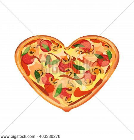 Hot Pizza With Salami, Mozzarella, Mushrooms And Cheese. Gift Dish Is In The Form Of A Heart On A Wh