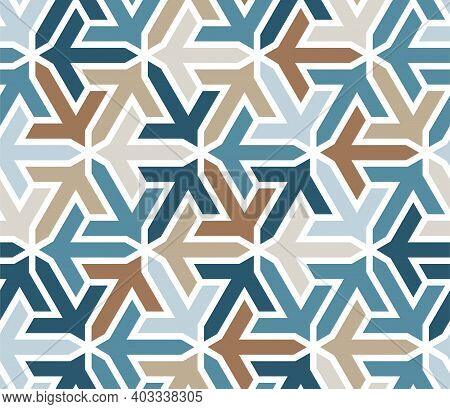 Geometric Islamic Pattern With Arrows. Color Geometric Arabic Vector Texture For Cloth, Textile, Wra