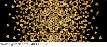 Luxury And Rich Arabic Pattern, Gold And Black. Vector Random Mosaic . Arabesque Vector Seamless Pat