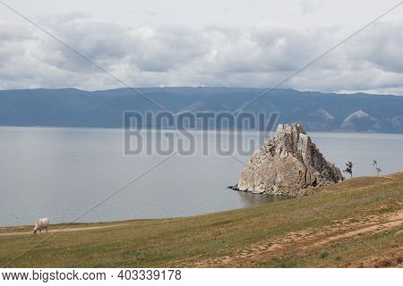 A Rock Shamanka On Lake Baikal, Olkhon Island. Russia
