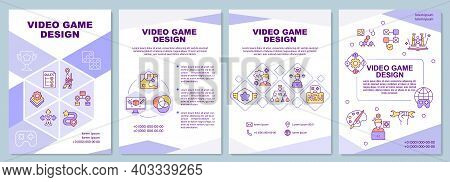 Video Game Design Brochure Template. Developing Gameplay And Storyline. Flyer, Booklet, Leaflet Prin