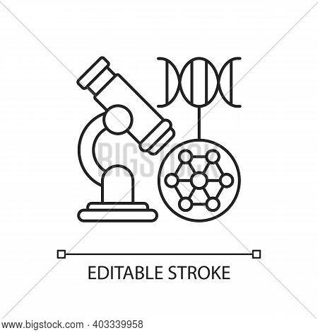 Dna Microarray Linear Icon. Microscopic Analysis. Nano Organism Sample. Genetic Engineering. Thin Li