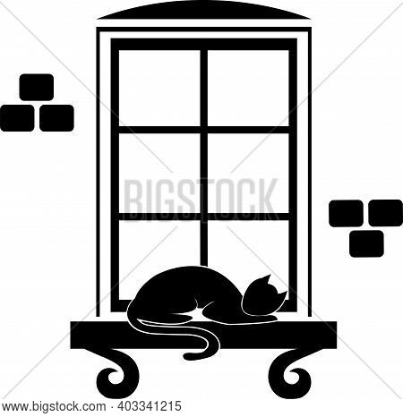 Vector Image Of A Window With A Cat Sleeping On The Windowsill